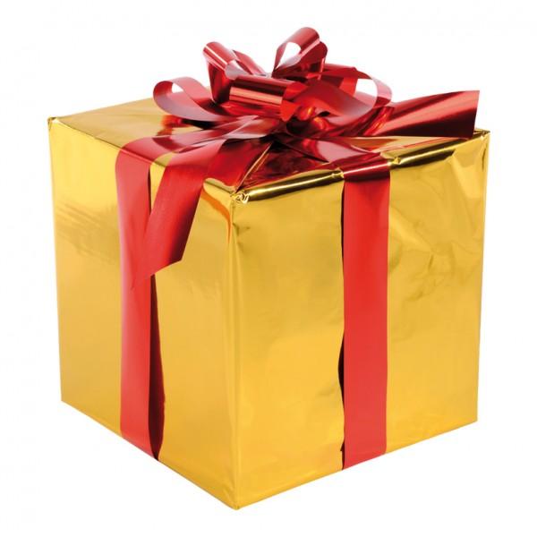 Geschenkpaket, 30x30cm, mit Folienschleife, Styrofoam, Folie