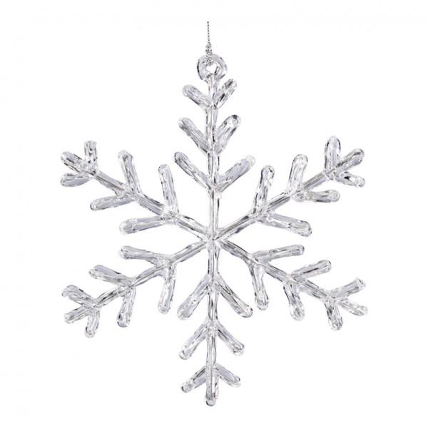 Schneeflocke, Ø 15cm, mit Hänger, Kunststoff
