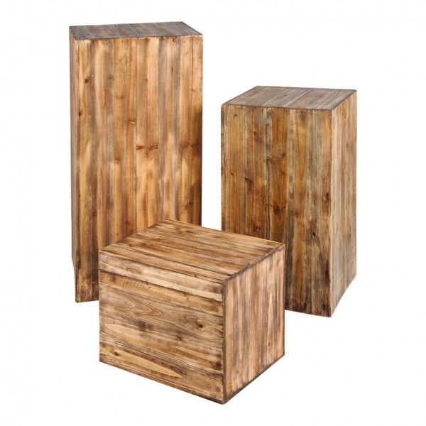 Podeste, 40x30x30cm, 60x35x35cm,80x40x40cm, 3Stck./Satz, unten offen, Holz, nestend