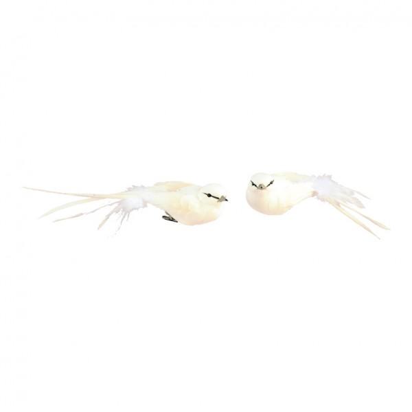 Vögel mit Clip, 4x18cm, 2 Stk./Set, Styrofoam mit Federn