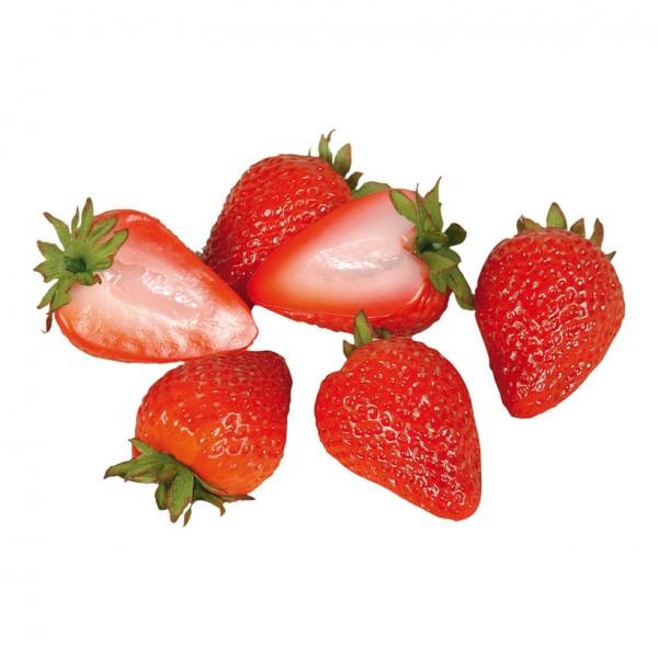 Erdbeerhälften, 6cm, 6Stck./Btl., Kunststoff