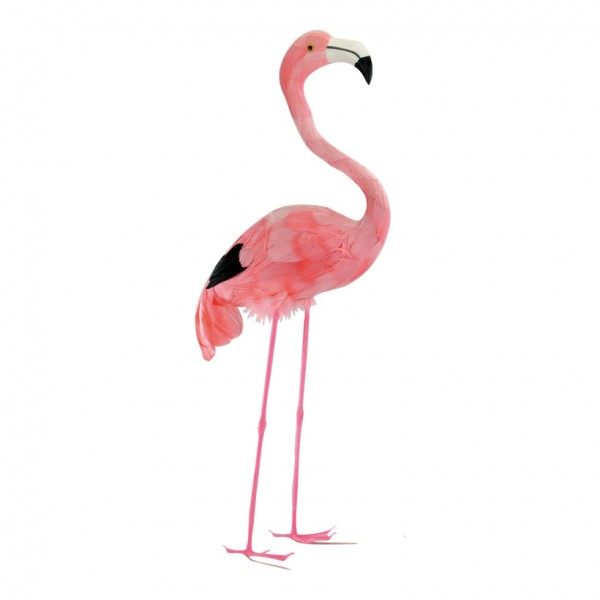 Flamingo, 55cm, Kopf oben, Kunststoff mit Federn