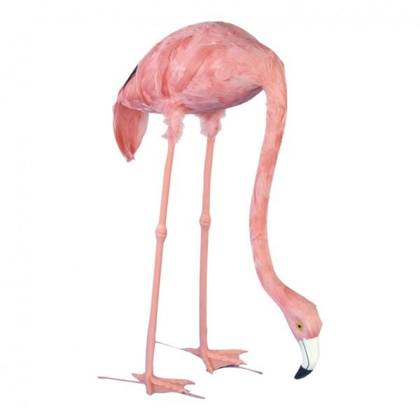 Flamingo, 72cm, Kopf gesenkt, Kunststoff mit Federn