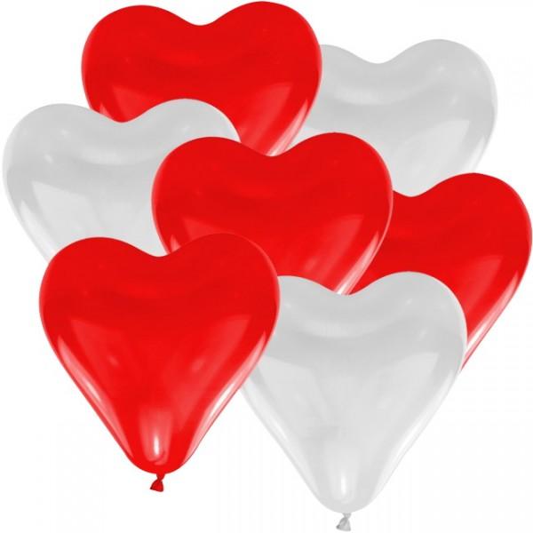 Herzballons rot/weiß