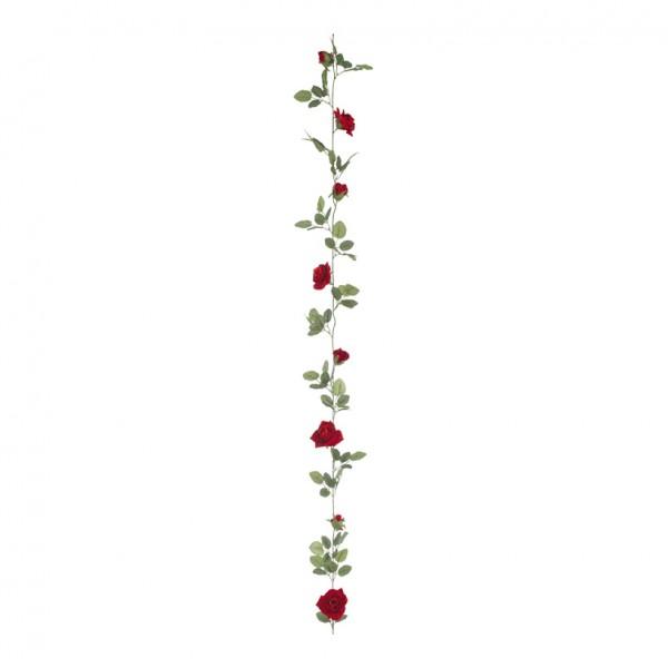 Rosengirlande, Rosen 4+9cm, 180cm, 8-fach, synthetischer Samt, Kunststoff