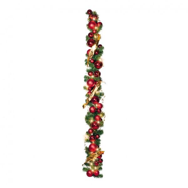 Tannengirlande, 180cm, geschmückt, mit 50 LED, warm/weiß, Stecker: 2,5A, 250V