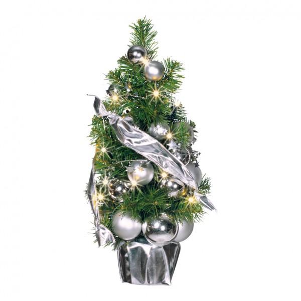 Tannenbaum, Ø 45cm, geschmückt, mit 20 LED, warm/weiß, Stecker: 2,5A, 250V