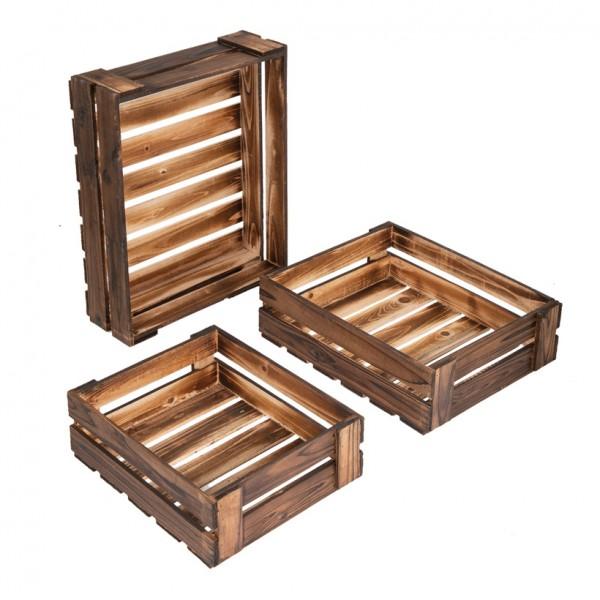 Holzkisten, 47x38x13cm, 40x33x12cm, 34x28x11cm, 3Stck./Satz