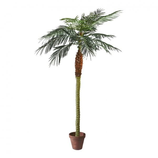 Phoenix-Palme im Topf, 210cm, 14-fach, 782 Blätter, Kunststoff, Kunstseide