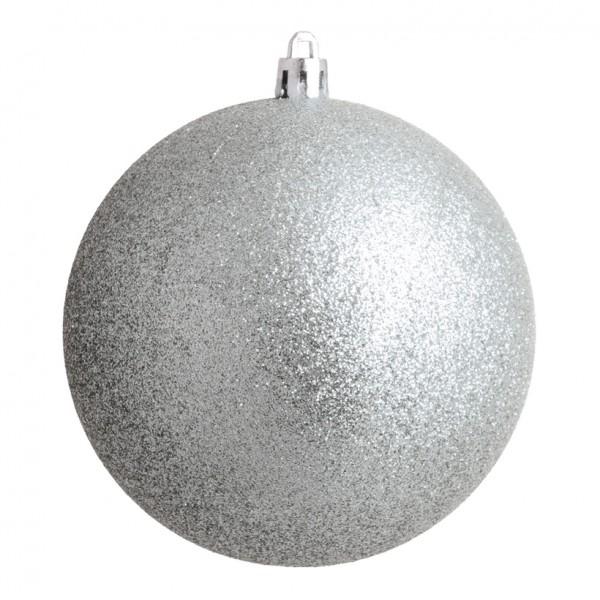 Weihnachtskugel, silber glitter, Ø 10cm