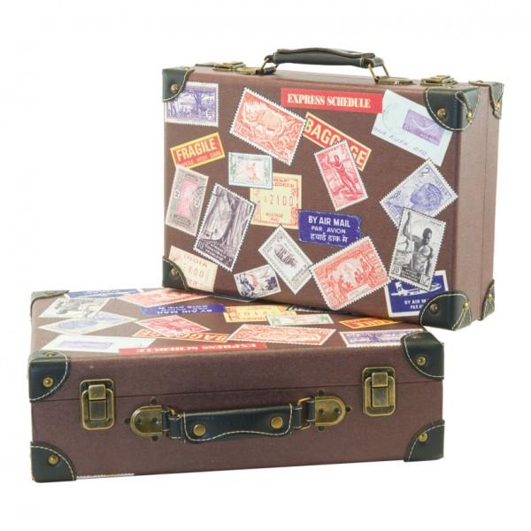 "Koffer ""Briefmarkendesign"", 36x24x10cm, 40x30x12cm, 2Stck./Satz, nestend, Holz, Kunstleder"