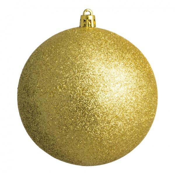 Weihnachtskugel, gold glitter, Ø 8cm 6 St./Blister