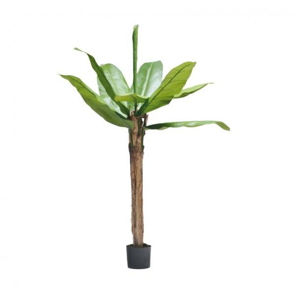 Bananenbaum, 180cm, 10 Blätter aus Kunstseide, im Topf, Stamm aus Naturfaser