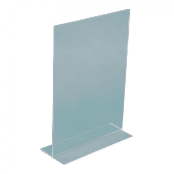 T-Aufsteller, A6, 15,5x10,5x4,5cm, Hochformat, Plexiglas