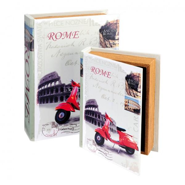 """Bücherset """"Rom"""", 23x17x5cm + 30x21,5x7cm, 2Stck./Satz, Leinwanddruck auf Holz"""