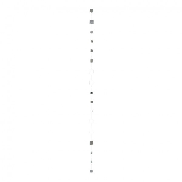 Spiegelkette, 300cm, 1x1,5 cm, 81 Plättchen, viereckig, Glas