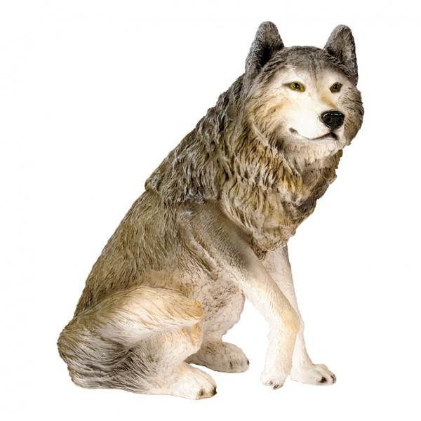Wolf, sitzend, 65x60x40cm, Kunstharz