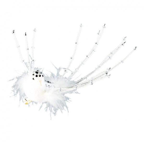 Vogel mit Clip, 23cm, Kunststoff, mit Pailletten und Perlen