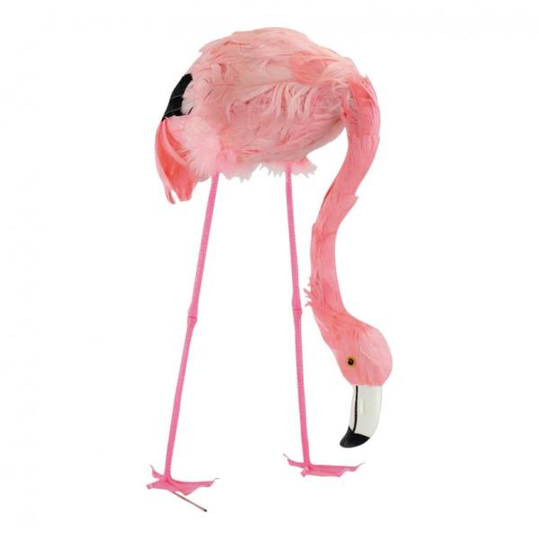 Flamingo, 38cm, Kopf gesenkt, Kunststoff mit Federn