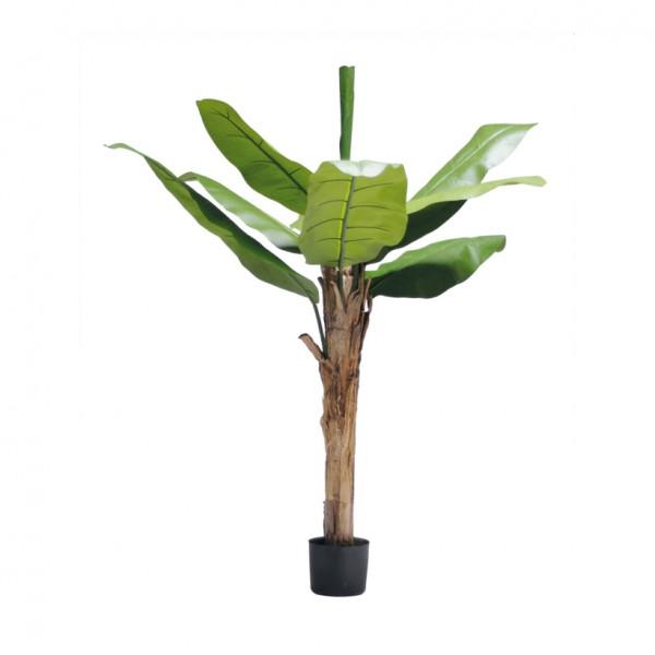 Bananenbaum, 150cm, 9 Blätter aus Kunstseide, im Topf, Stamm aus Naturfaser