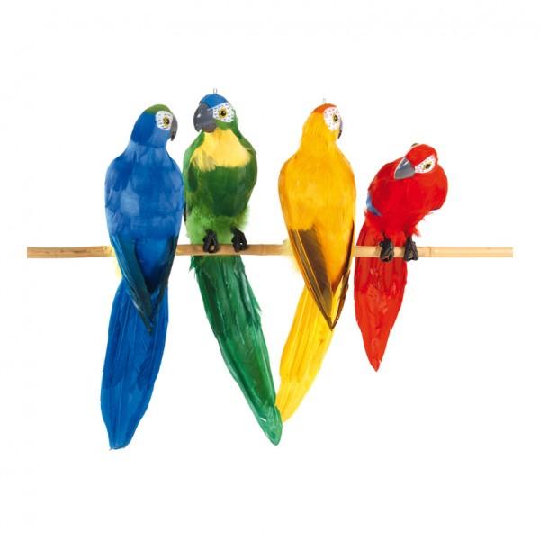 Papagei, 13x50cm, 4-farbig sortiert, Styropor, mit Federn