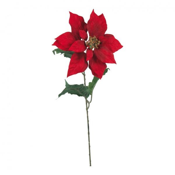 Edel-Poinsettia am Stiel, Ø 24cm, 72cm, Kunstseide