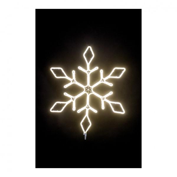 Neon-Schneeflocke, 70x60cm mit 120 LEDs, 230V, IP44 Stecker für außen, 1,5m Zuleitung