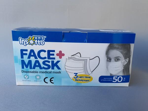 Einweg Schutzmaske - Mundschutz - weiß - 50 Stück Pack