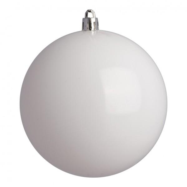 Weihnachtskugeln, weiß glänzend, Ø 8cm 6 St./Blister