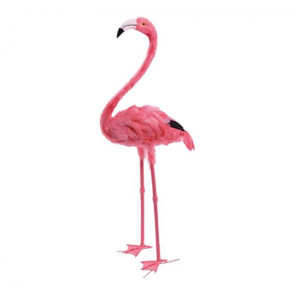 Flamingo, 107cm, Kopf oben, Kunststoff mit Federn