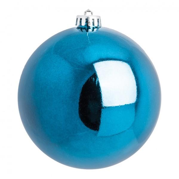 Weihnachtskugel, blau glänzend, Ø 14cm