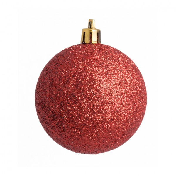 Weihnachtskugel, rot glitter, Ø 8cm 6 St./Blister