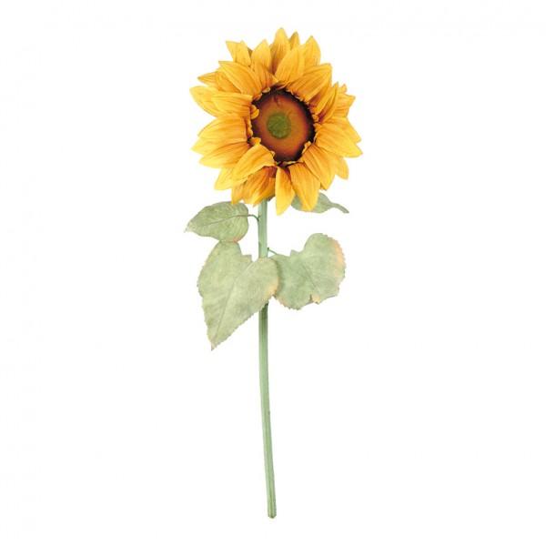 Sonnenblume, Ø 50cm, 130cm, Kunstseide, Blätter beflockt