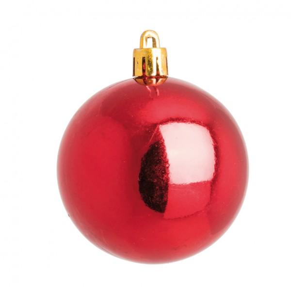 Weihnachtskugeln, rot glänzend, Ø 6cm 12 St./Blister