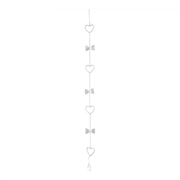 Herzkette, Ø 8cm, 4-fach, 150 cm, Stoffüberzug mit Bordüre, Styrofoam/Kunststoff
