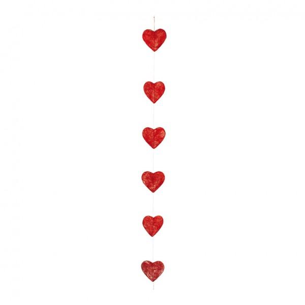 Herzgirlande, Ø 15cm, 180cm, 6-fach, flach, Draht, Sisal